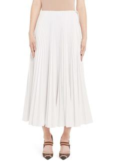 Fendi Drawcord Waist Pleated Midi Skirt