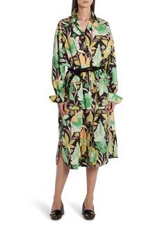 Fendi Dream Garden Print Long Sleeve Cotton Shirtdress