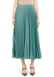 Fendi Drop Waist Pleated Mohair & Wool Midi Skirt