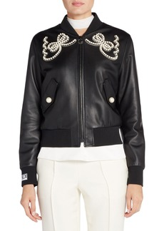Fendi Embellished Bow Leather Bomber