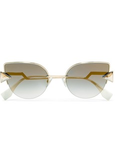 Fendi Embellished Cat-eye Gold-tone Mirrored Sunglasses