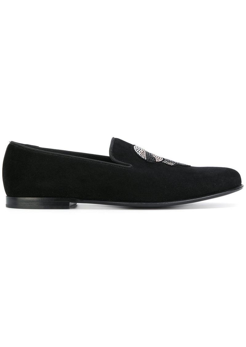 Fendi embellished Karl loafers - Black