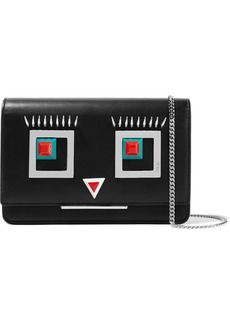 Fendi Embellished leather shoulder bag