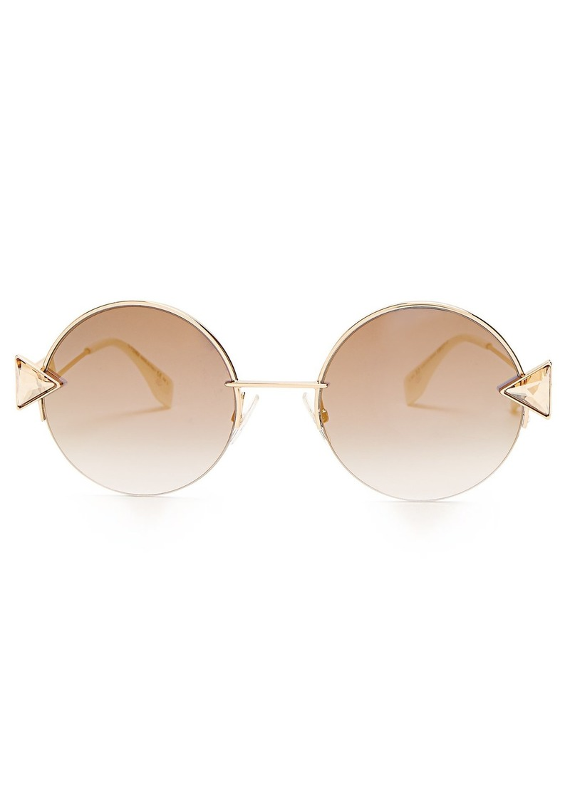 Fendi Embellished round-eye metal sunglasses