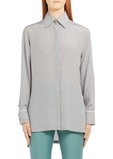 Fendi Embroidered Dot Longline Silk Blouse