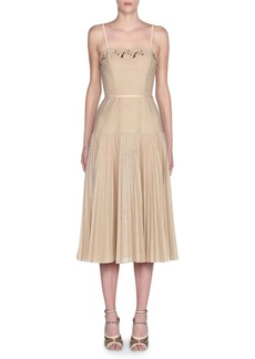 Fendi Embroidered Perforated Midi Dress