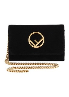 Fendi F Logo Velvet Wallet on a Chain
