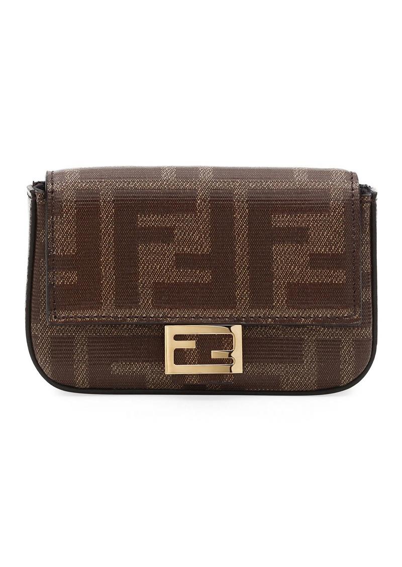 Fendi Fabric FF Micro Baguette Crossbody Bag
