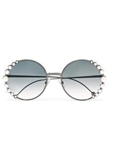 Faux pearl-embellished round-frame gunmetal-tone sunglasses