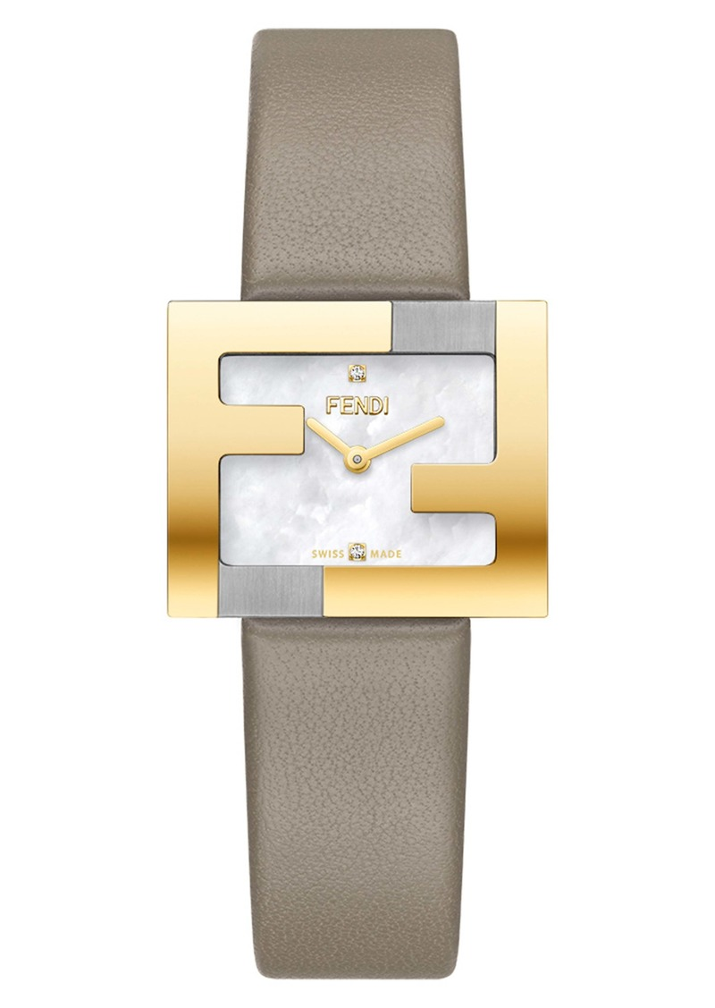 Fendi Fendimania Diamond Leather Strap Watch, 24mm x 20mm