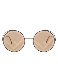 Fendi Fendirama mirror-logo lense round sunglasses