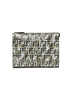 Fendi FF camo-print leather pouch