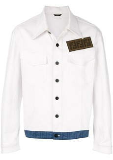 Fendi FF contrast hem denim jacket - White