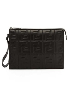 Fendi FF-embossed leather pouch