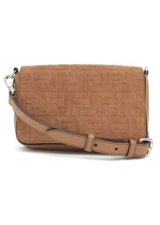 Fendi FF-embossed suede and leather cross-body bag