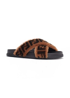 Fendi FF Genuine Shearling Cross Strap Slide Sandal (Women)
