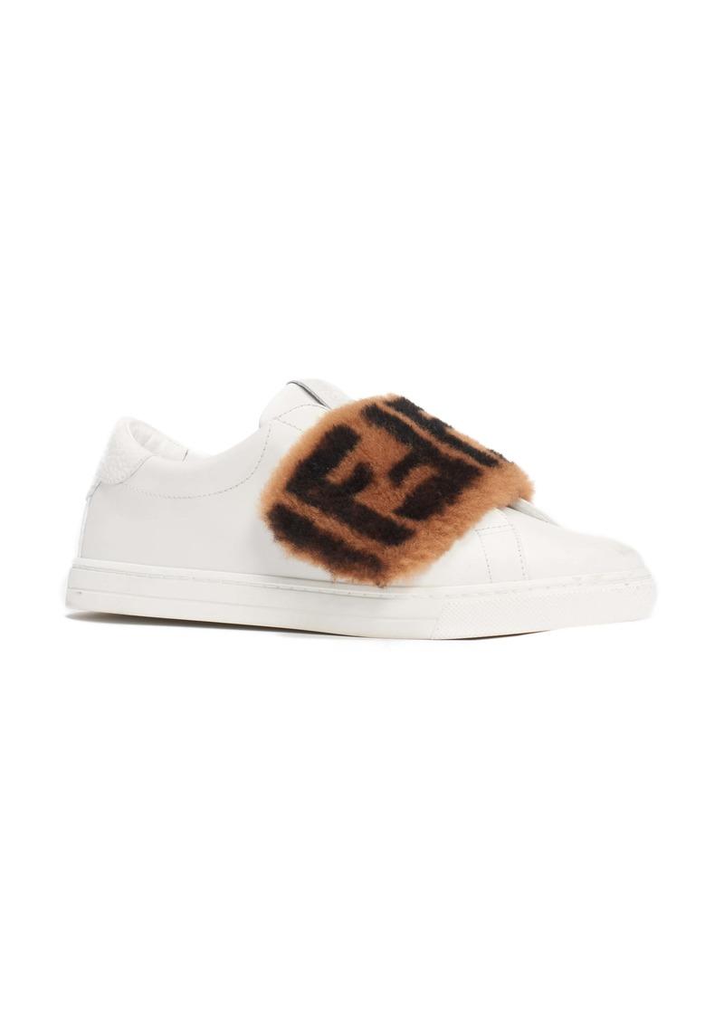 Fendi FF Genuine Shearling Slip-On Sneaker (Women)