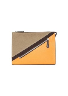 Fendi FF-jacquard and leather pouch
