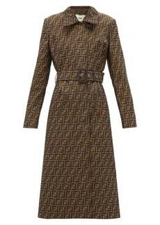 Fendi FF-jacquard belted canvas trench coat