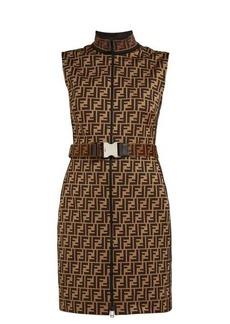 Fendi FF-jacquard cotton-blend mini dress