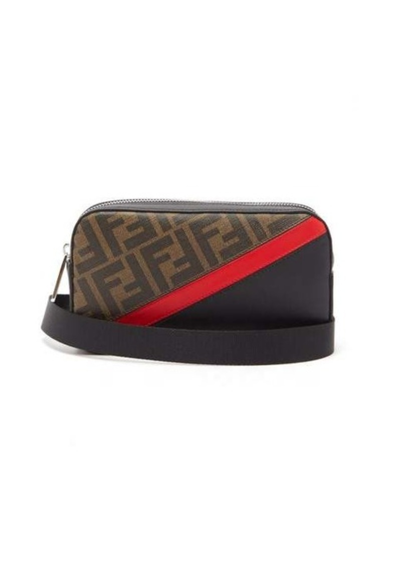 Fendi FF leather and canvas cross-body bag