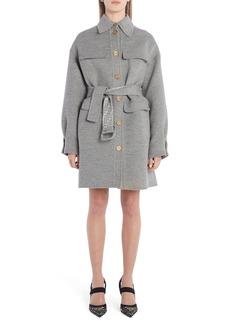Fendi FF Logo Belted Fleece Wool & Silk Coat
