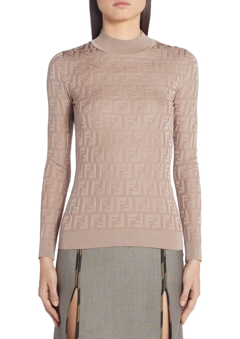 Fendi FF Logo Cotton Blend Sweater