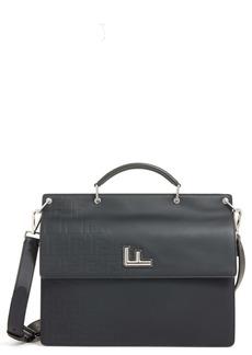 Fendi FF Logo Embossed Leather Briefcase