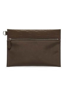 Fendi FF logo-embossed leather pouch