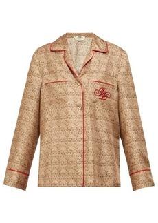 Fendi FF logo-embroidered gate-print silk shirt