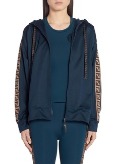 Fendi FF Logo Hooded Jersey Jacket