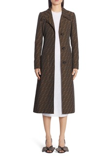 Fendi FF Logo Jacquard Canvas Trench Coat