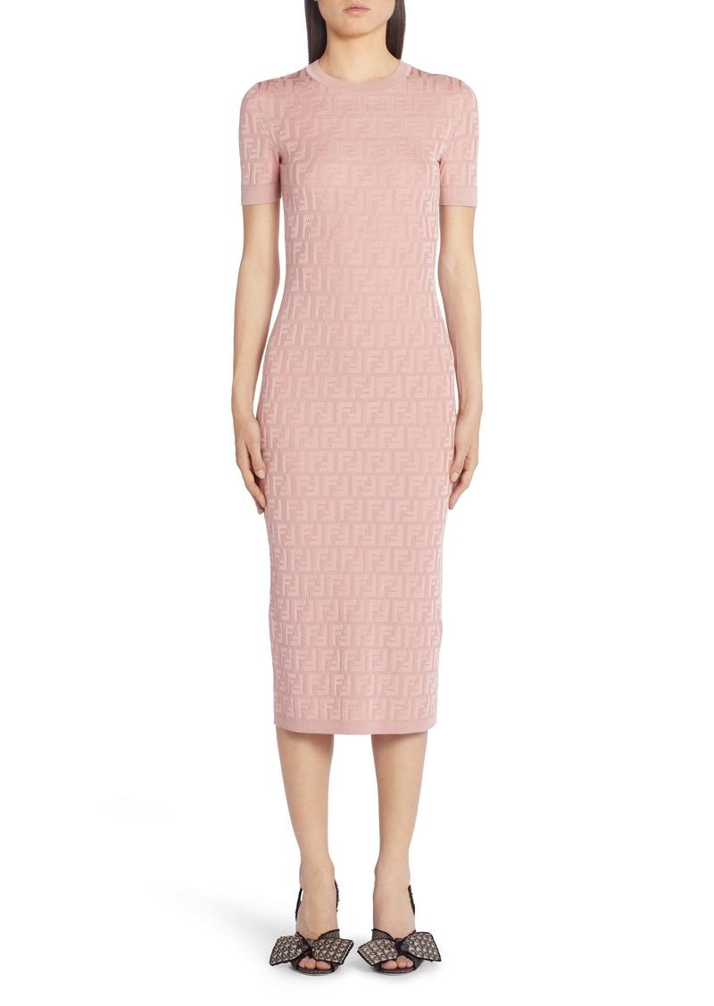 Fendi FF Logo Jacquard Cotton Blend Sweater Dress