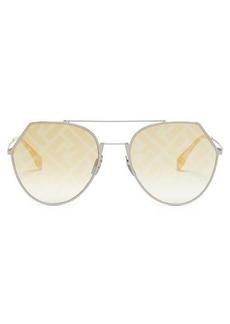 Fendi FF logo-print aviator metal sunglasses