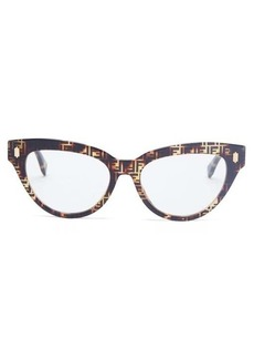 Fendi FF logo-print cat-eye acetate glasses