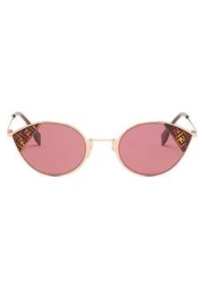 Fendi FF logo-print cat-eye metal sunglasses