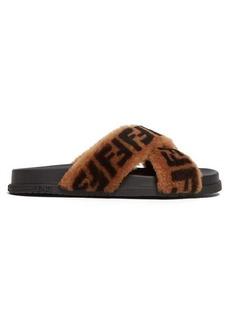 Fendi FF logo-print shearling slides