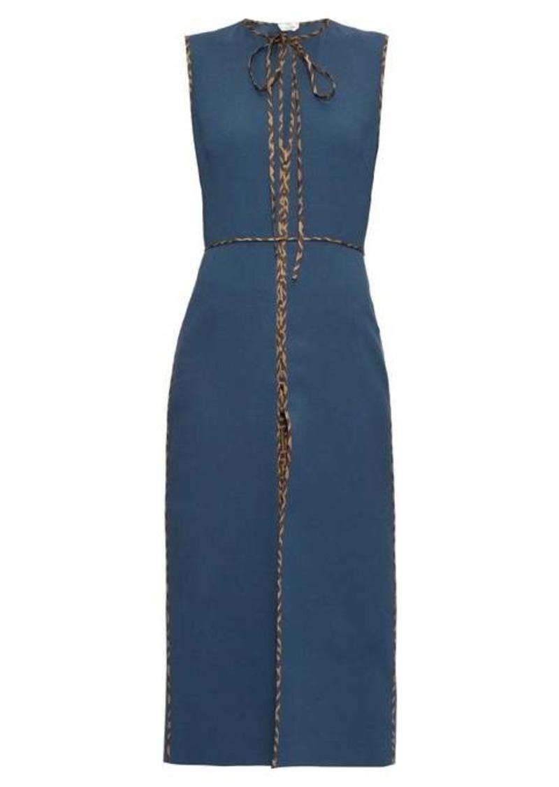 Fendi FF logo-trimmed tie-neck wool midi dress