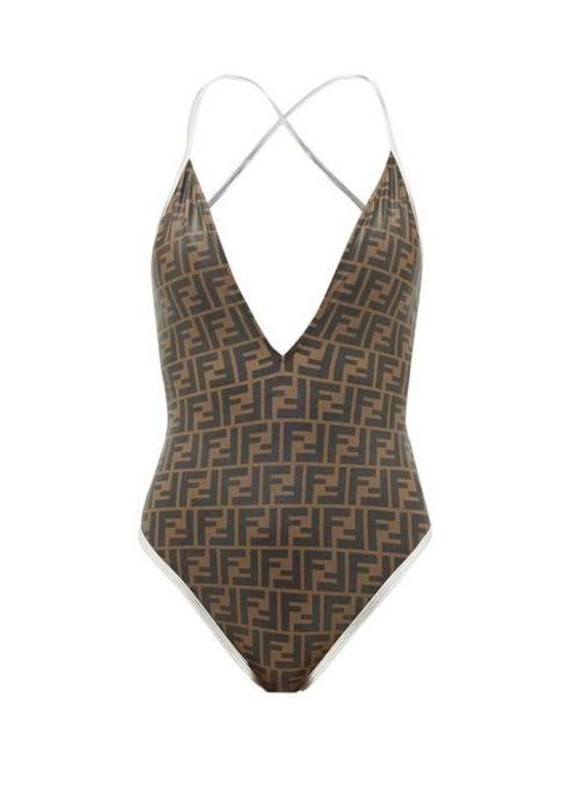 Fendi V-neck FF-logo swimsuit
