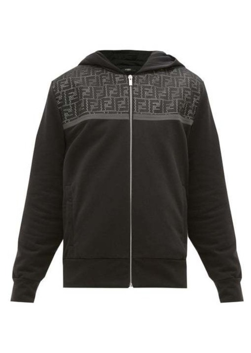 Fendi FF mesh-panel cotton-blend hooded sweatshirt