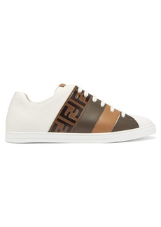 Fendi FF-panel leather trainers