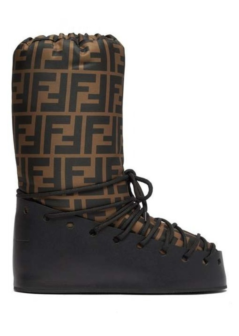 Fendi FF-print lace-up moon boots