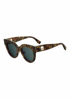 Fendi FF-Print Round Acetate Sunglasses