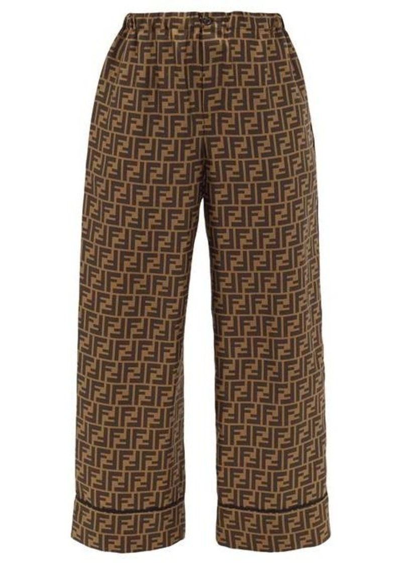 Fendi FF-print silk-satin trousers