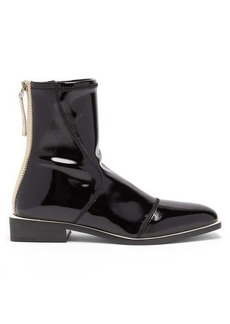 Fendi FFrame patent ankle boots