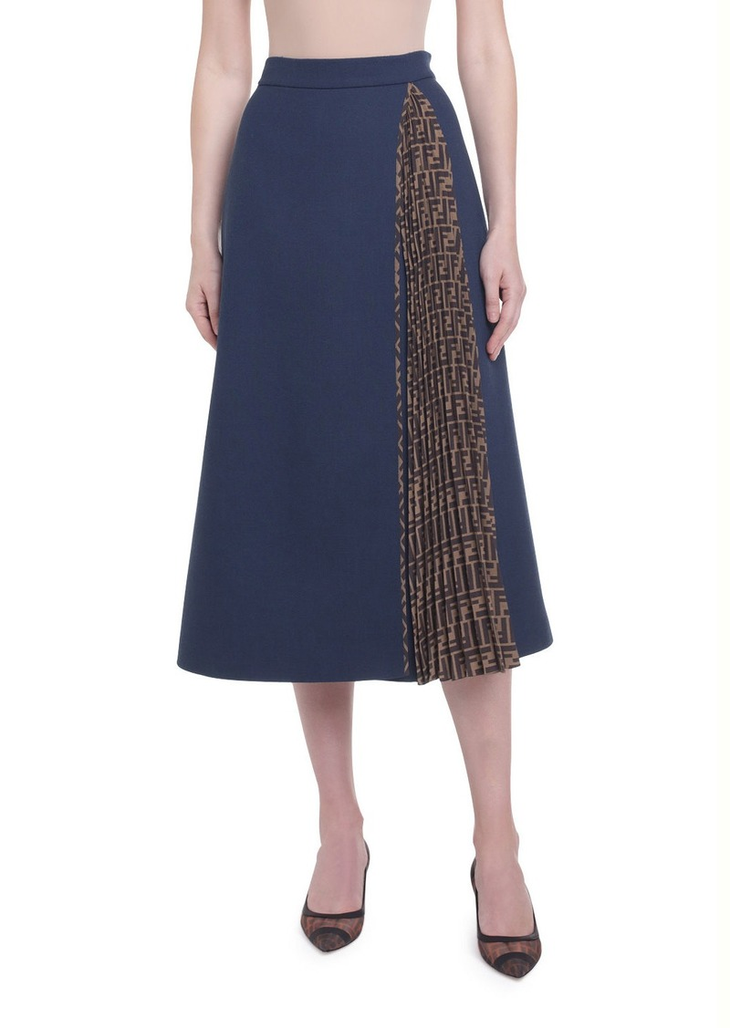 Fendi Fleece Wool Midi Skirt with Pleated Side Inset
