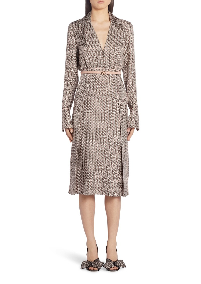 Fendi Floating Petal Long Sleeve Silk Twill Midi Dress