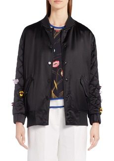 Fendi Floral Embellished Bomber Jacket