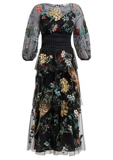 Fendi Floral-embroidered tulle overlay silk gown