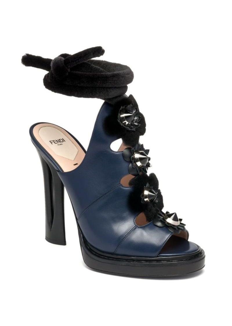 Fendi Flowerland Runway Mink Fur-Trimmed Studded Leather Slides